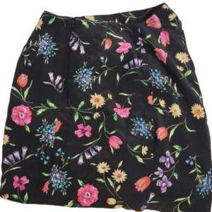 Talbots Petites Women's Silk Skirt Floral Pattern